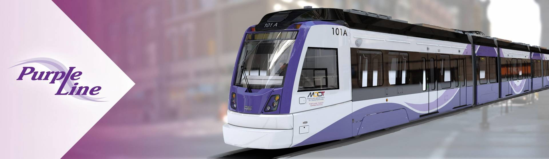 Purple Line train rendering in city setting. Purple Line logo to left of image.