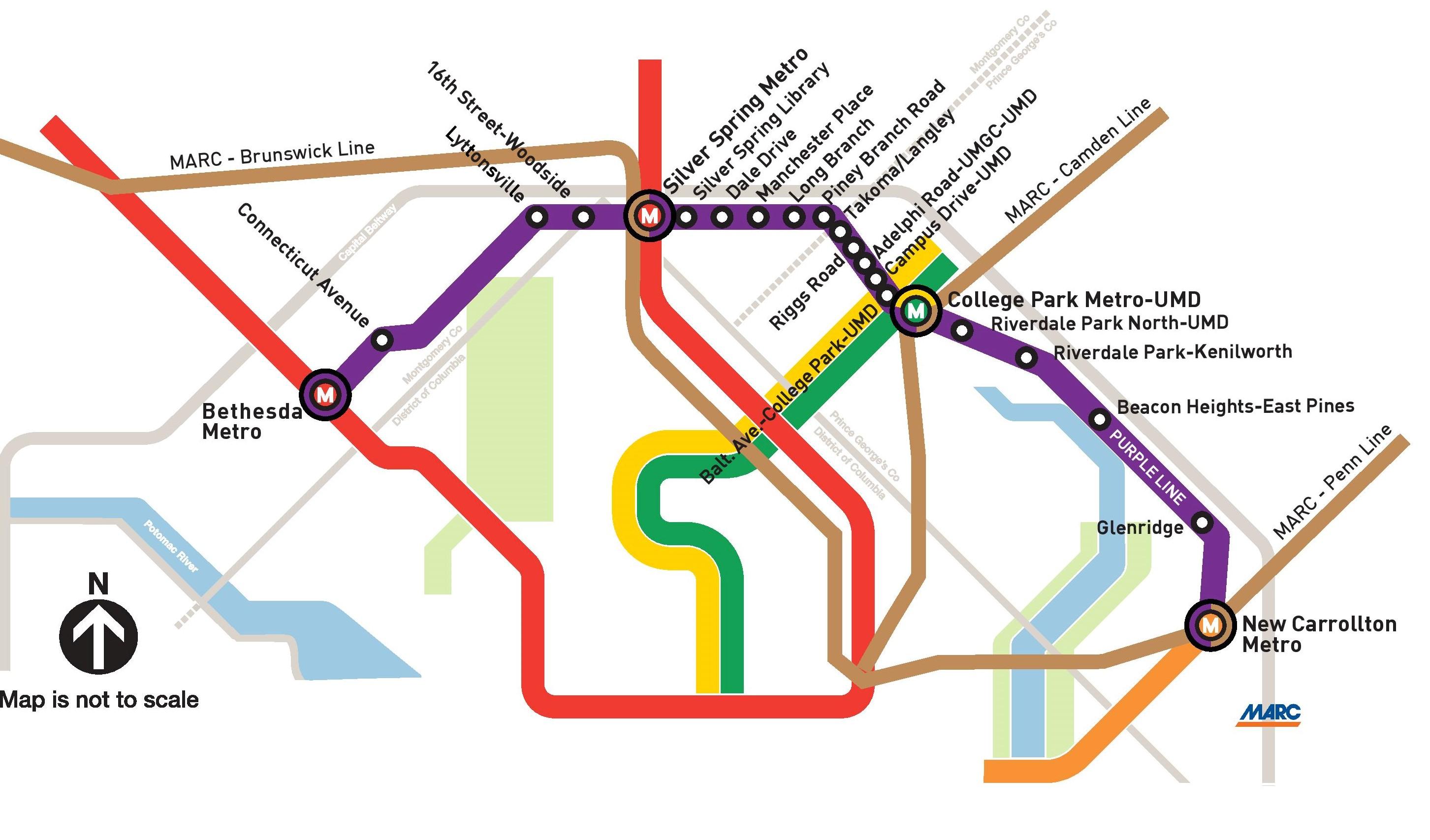 maryland light rail map Project Maps Mdot Mta Purple Line maryland light rail map